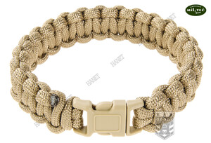 Bransoleta Paracord 15 mm / 20 cm / 225 cm - Coyote